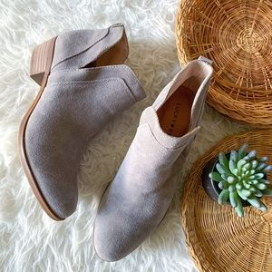 Lucky Brand Suede Ankle Booties in Taupe Size 7.5
